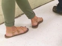 Girls feet in high school class