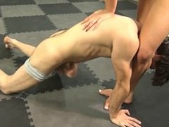 Naked Blonde Outwrestles, fondles, and Humiliates Man in Mixed Wrestling