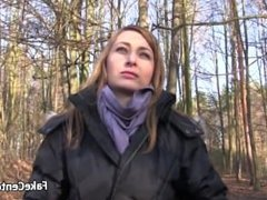 Hot babe fucking outdoors for cash