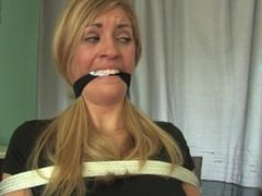 Kidnapped and chair tied hot brunette -