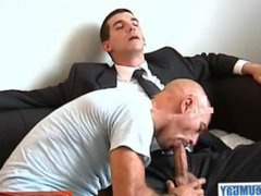 The str8 vendor has to let his cock get sucked by a guy to win a contract.