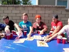 Redhead gets wet with 5 guys.