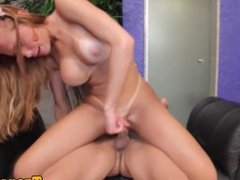 Assfucked latin tgirl jizzed on butt