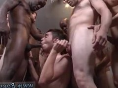 Young shaved gay black on white anal sex first time Landon humped and