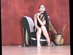 Domination by feet from dominant female with whip