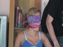 Tied To Chair With Bandanna Blindfold & Gag