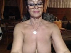 busty granny in a wery hot strip play with a dildo