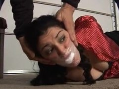 girl handcuffs and duct tape gag