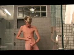 Skinny Blond Twink Boy Wank his Big Cock in the Shower