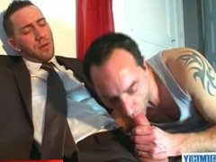 My boss made a porn: watch his huge cock gets sucked by a guy!