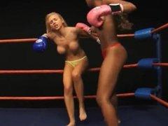Ivy vs Alex interracial topless boxing