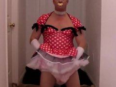 diapered sissybaby inpretty red dress caught