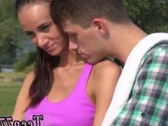 Hot milf fucks teen lesbian first time Eveline getting plumbed on camping