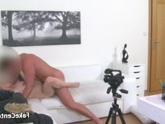 Massive tits blond fucks on casting