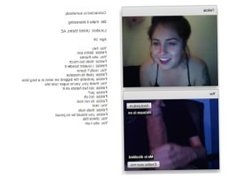 Hot Chatroulette girl is amazed by big cock