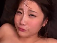 18 year old Mao Kurata recieves huge loads of milky cum on her cute face