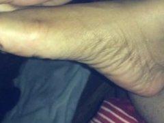 Ebony foot play & light tickles