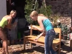 Blonde dress Kate & Tanya in the sun