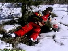 Gay twink with huge dick showing off Roma Smokes In The Snow