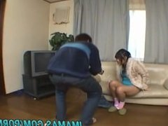 Rin Satomi rides boner with shaved crack and gets cum in mouth
