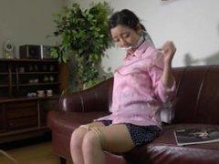self-bondage JP girl in trouble