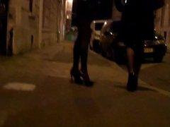 miniskirt tights high heels