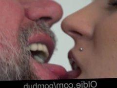 Hot brunette babe helps wanking old fart feel real sex pleasures