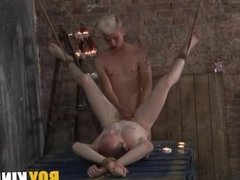 Sean was tied with legs in the air and perfect for a slave