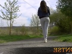 Montse, an amateur spanish teen, shows her cameltoe in jeans