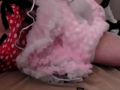 diapered sissybaby in pretty red dress triple diapered caught on webcam