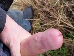 Sneaky wank in the field