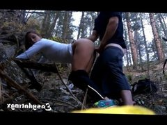 Two teen friends couples fucked in the wood