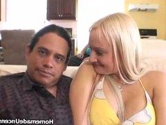 Amateur titty blonde rides cock