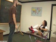 Schoolgirl jerks off the teacher