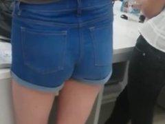 White Girl Ass In Denim Booty Shorts