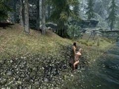 Hot Blonde gets fucked by the river - SKYRIM