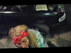 Blowjob at the mechanic shop with facial from hottie with a 1hottie profile