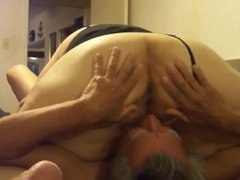 Licking grannys big pussy