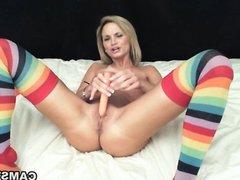 Pleasuring pussy w/ vibrator & thick dildo