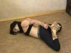 Struggling in super tight hogtie