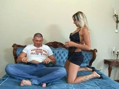 Blonde bitch loves riding guy's dick cowgirl style