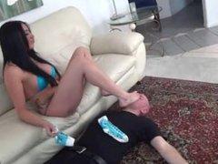 Bikini Princess dominates slave