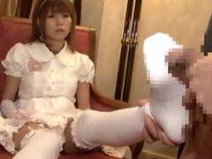 Emotionless Japanese Lolita Fashion Handjob and Footjob