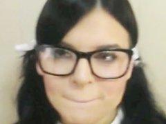 Slutty Schoolgirl pusished gags on cum for good grades