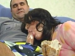 daughter sucking ice cream of daddy's cock