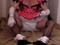 diapered sissybaby in pretty red dress peeing