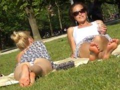 Classy Sluts Show Off In The Park