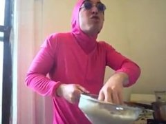 Sexy pink asian man shows his talent