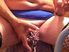Pierced slavedick working my balls
