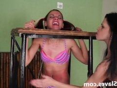 Brazilian bdsm and lesbian whipping of tied teen slave girl Geovanna